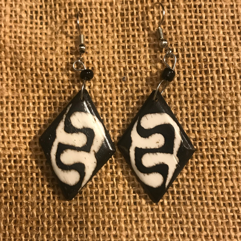 Cow Bone Earrings-Black and White Diamond