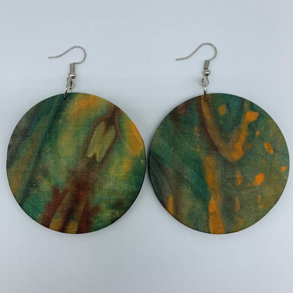 African Print Earrings-Round M Green Variation 4