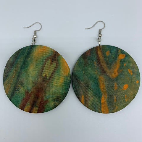 African Print Earrings-Round M Green Variation 4 - Lillon Boutique