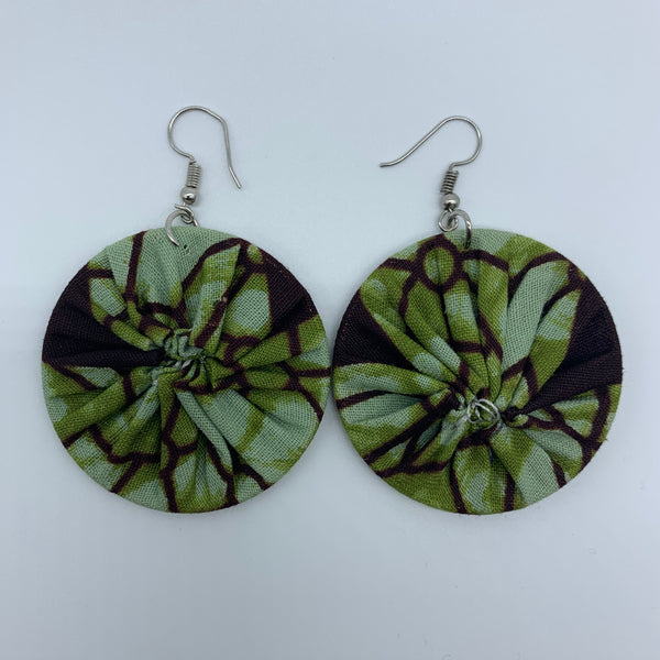 African Print Earrings-Round S Green Variation 15