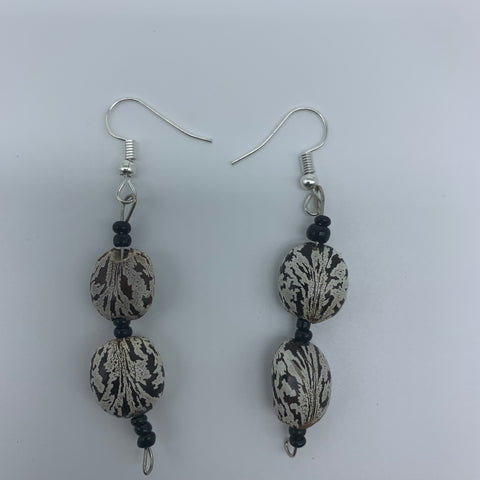 Seeds Earrings-White Variation with Black Beads