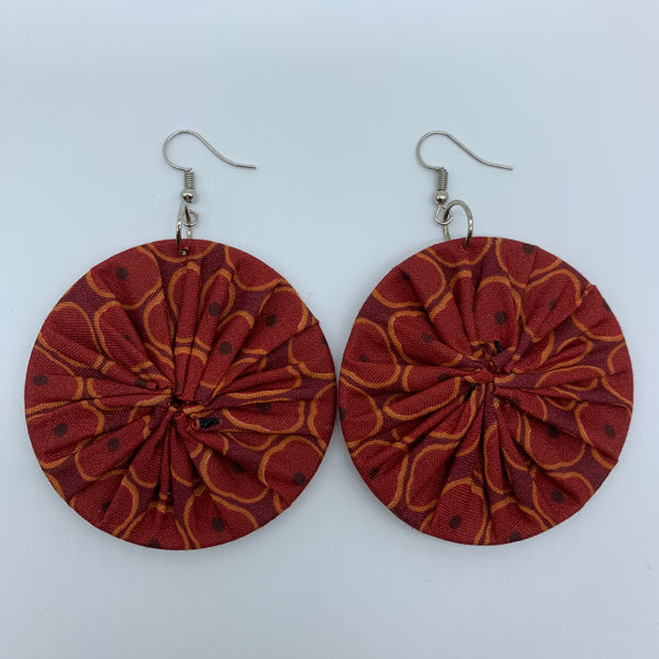 African Print Earrings-Round M Red Variation 5 - Lillon Boutique