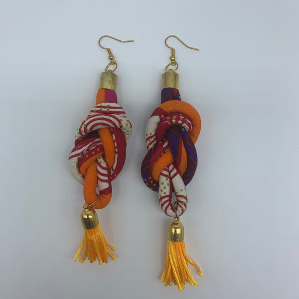 African Print Earrings-Knotted L Orange Variation