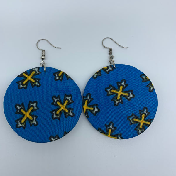 African Print Earrings-Round S Blue Variation 16