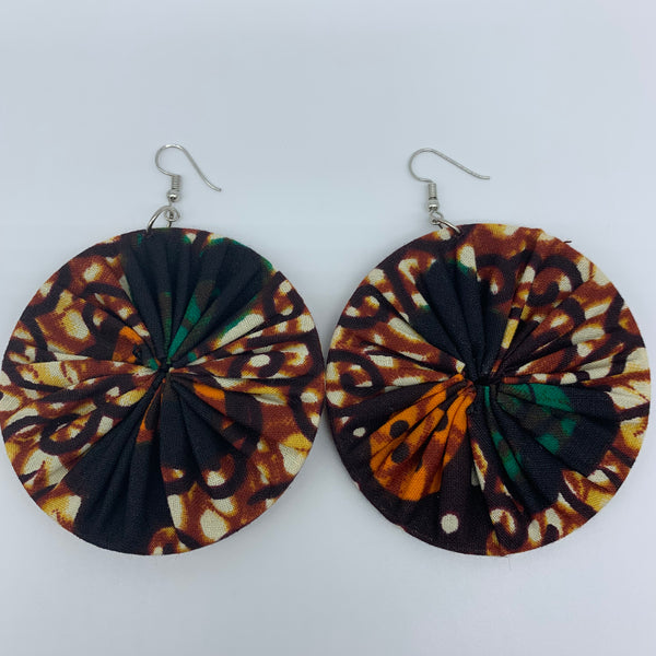 African Print Earrings-Round L Brown Variation