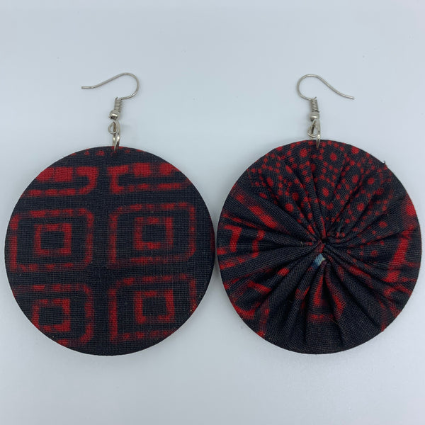 African Print Earrings-Round M Red Variation 9