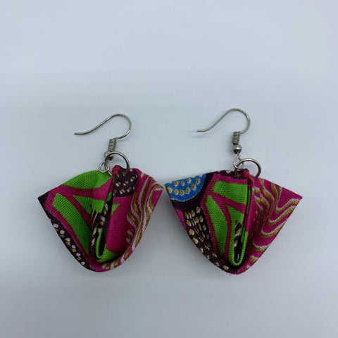 African Print Earrings-Folded Pink Variation 2