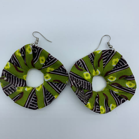 African Print Earrings-Faux Scrunchy Green Variation