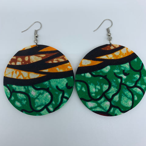 African Print Earrings-Round M Green Variation 2