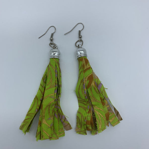African Print Earrings-Tassel Green Variation - Lillon Boutique