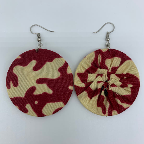 African Print Earrings-Round S Red Variation 8 - Lillon Boutique