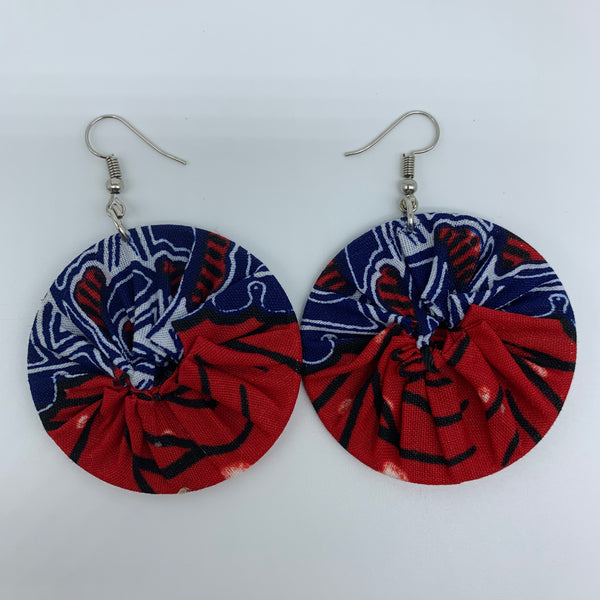 African Print Earrings-Round S Red Variation 15