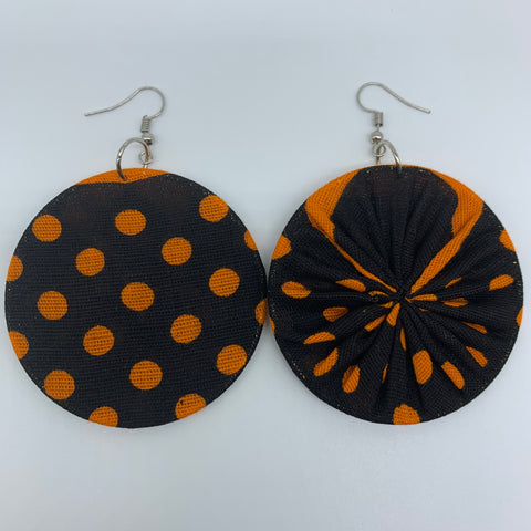 African Print Earrings-Round M Orange Variation 6 - Lillon Boutique