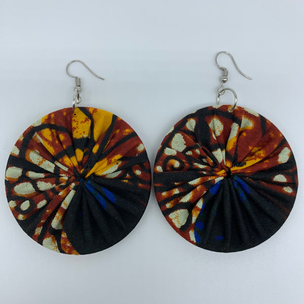 African Print Earrings-Round M Brown Variation 3