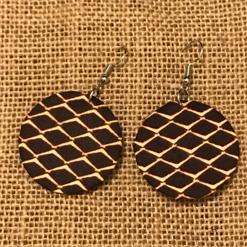 African Print Earrings-Brown Variation 5