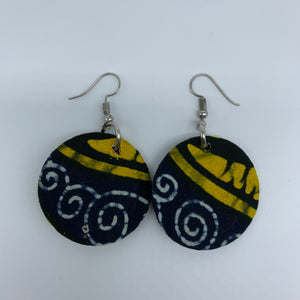 African Print Earrings-Round XS Yellow Variation 10