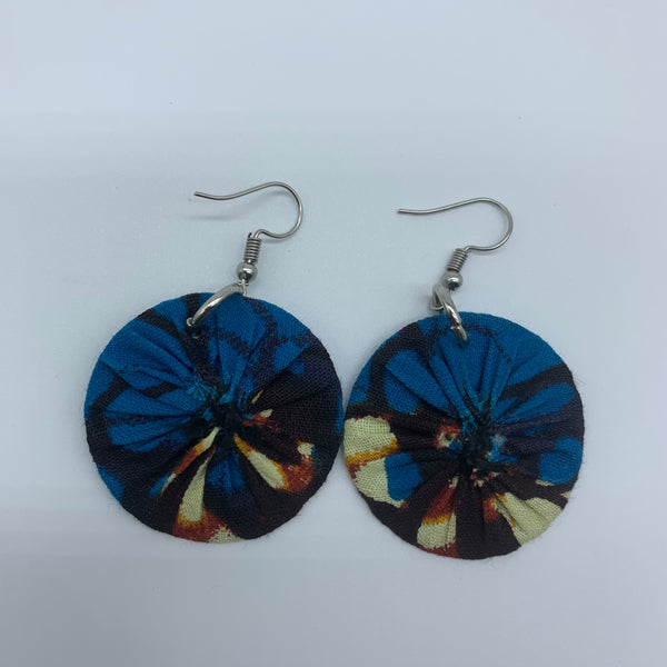 African Print Earrings-Round XS Blue Variation 12