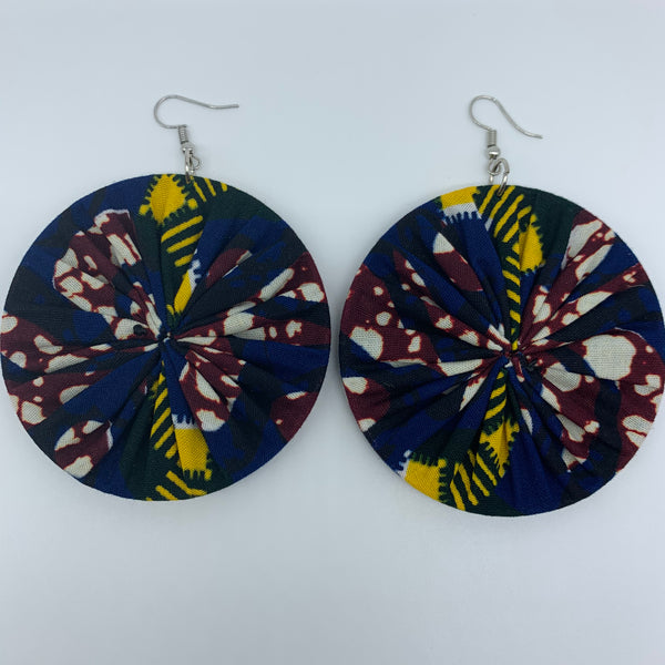 African Print Earrings-Round L Blue Variation 7 - Lillon Boutique