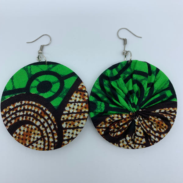 African Print Earrings-Round M Green Variation - Lillon Boutique