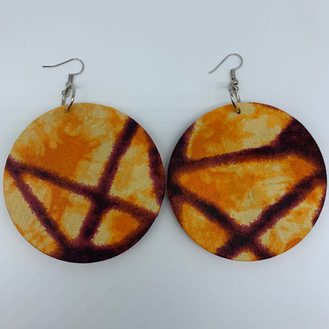 African Print Earrings-Round L Orange Variation 4
