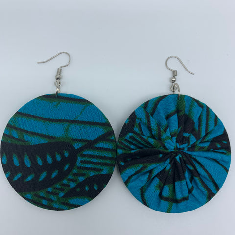 African Print Earrings-Round M Blue Variation 20