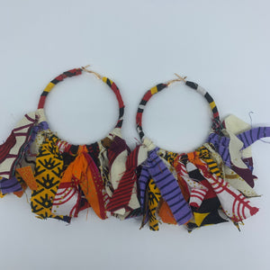 African Print Earrings-Zoba Zoba Hoops Red Variation