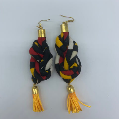 African Print Earrings-Knotted L Red Variation 2