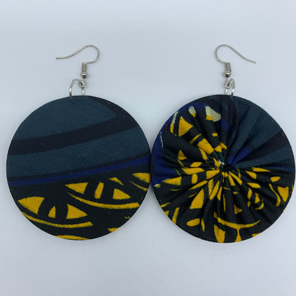 African Print Earrings-Round M Yellow Variation 5 - Lillon Boutique