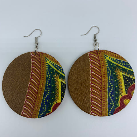 African Print Earrings-Round M Red Variation 10