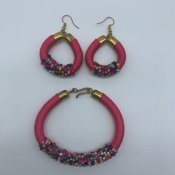 Thread Earrings W/Beads-Pink Variation - Lillon Boutique