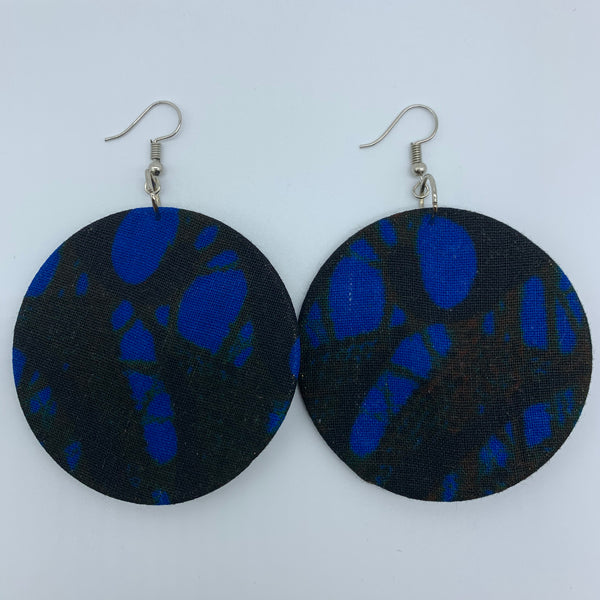 African Print Earrings-Round M Blue Variation 4 - Lillon Boutique