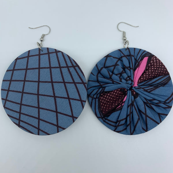 African Print Earrings-Round L Blue Variation 5 - Lillon Boutique