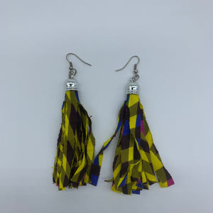 African Print Earrings-Tassel Green Variation 2 - Lillon Boutique