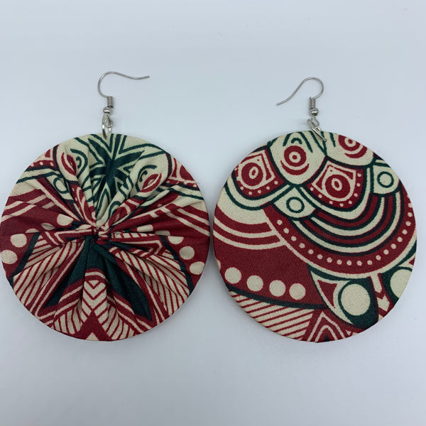 African Print Earrings-Round L Red Variation 2