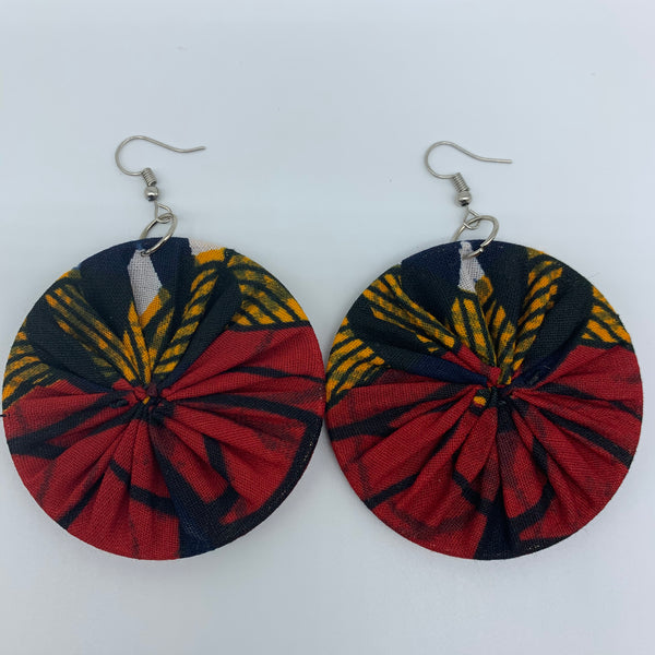 African Print Earrings-Round M Red Variation 11