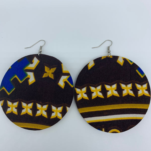 African Print Earrings-Round L Brown Variation 5 - Lillon Boutique