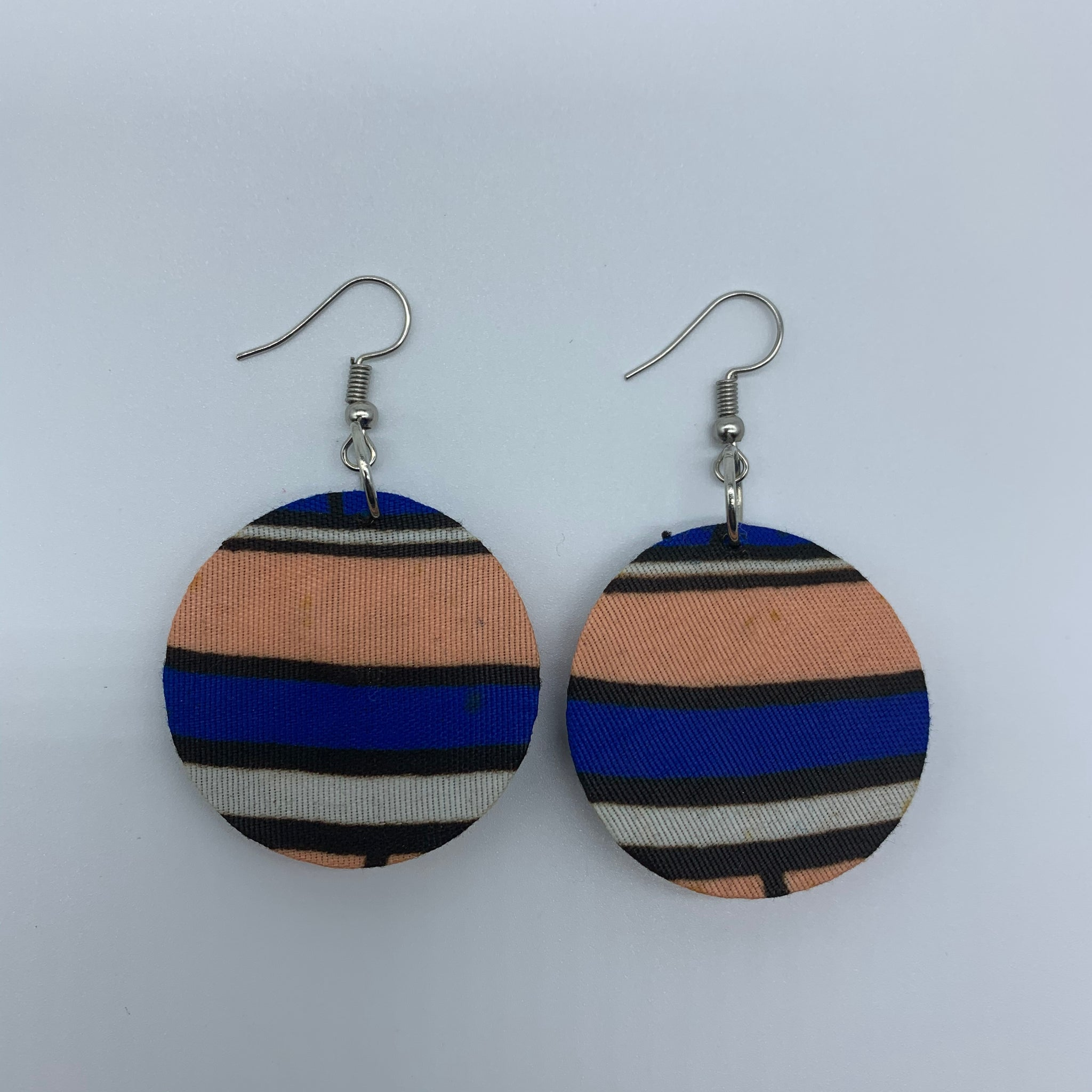African Print Earrings-Round XS Blue Variation 13