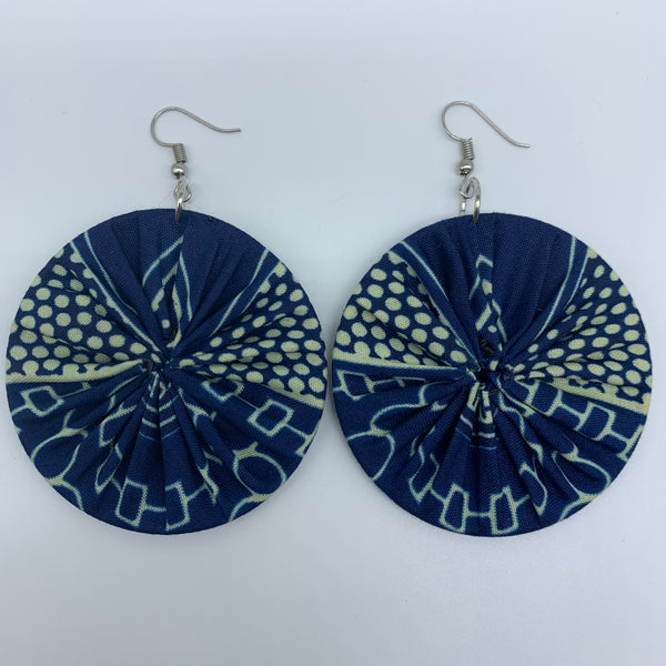 African Print Earrings-Round M Blue Variation 19