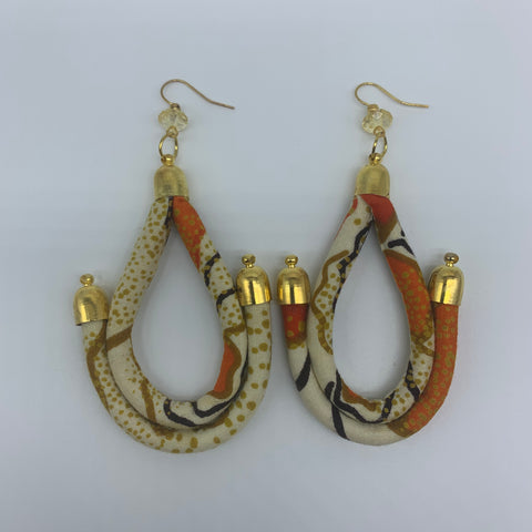 African Print Earrings-Anchor Orange Variation