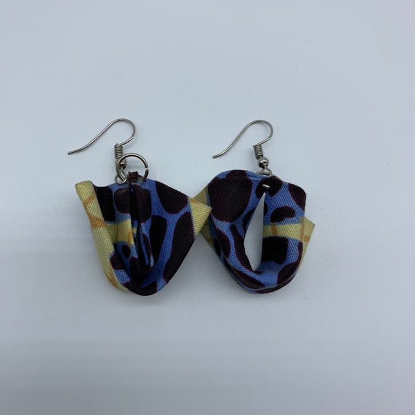 African Print Earrings-Folded Brown Variation - Lillon Boutique
