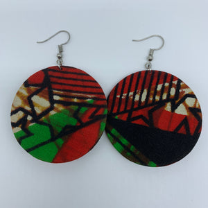 African Print Earrings-Round S Red Variation 9 - Lillon Boutique
