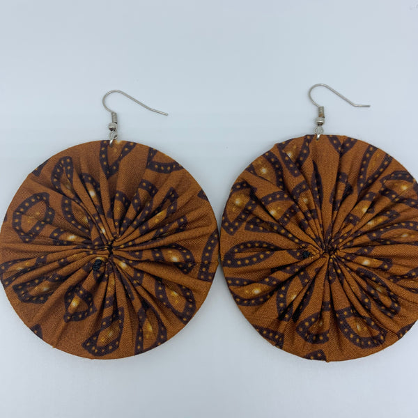 African Print Earrings-Round L Brown Variation 8