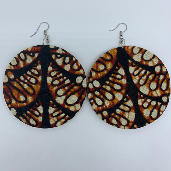 African Print Earrings-Round L Brown Variation 3