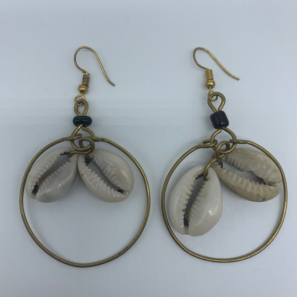 Golden Metal Earrings-Hoop with Shells - Lillon Boutique