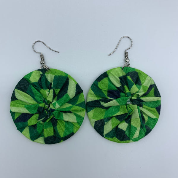 African Print Earrings-Round S Green Variation - Lillon Boutique