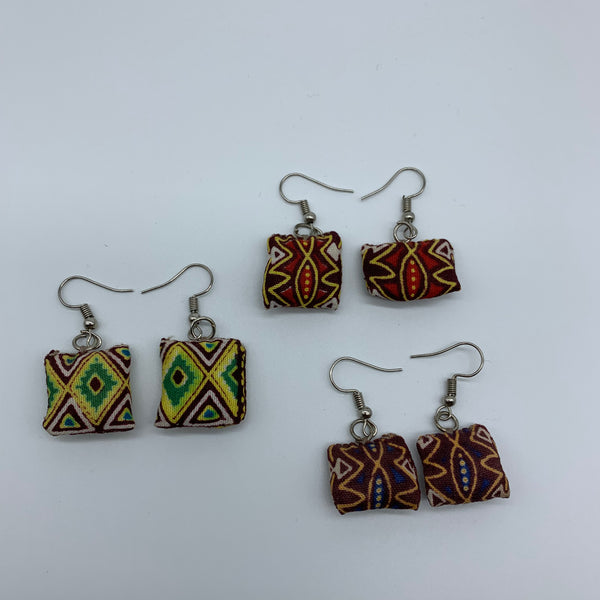 African Print Earrings-Mini Pillow Yellow Variation