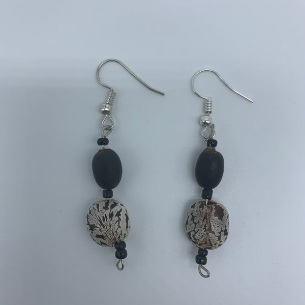 Seeds Earrings-White /Black Variation with Black Beads - Lillon Boutique