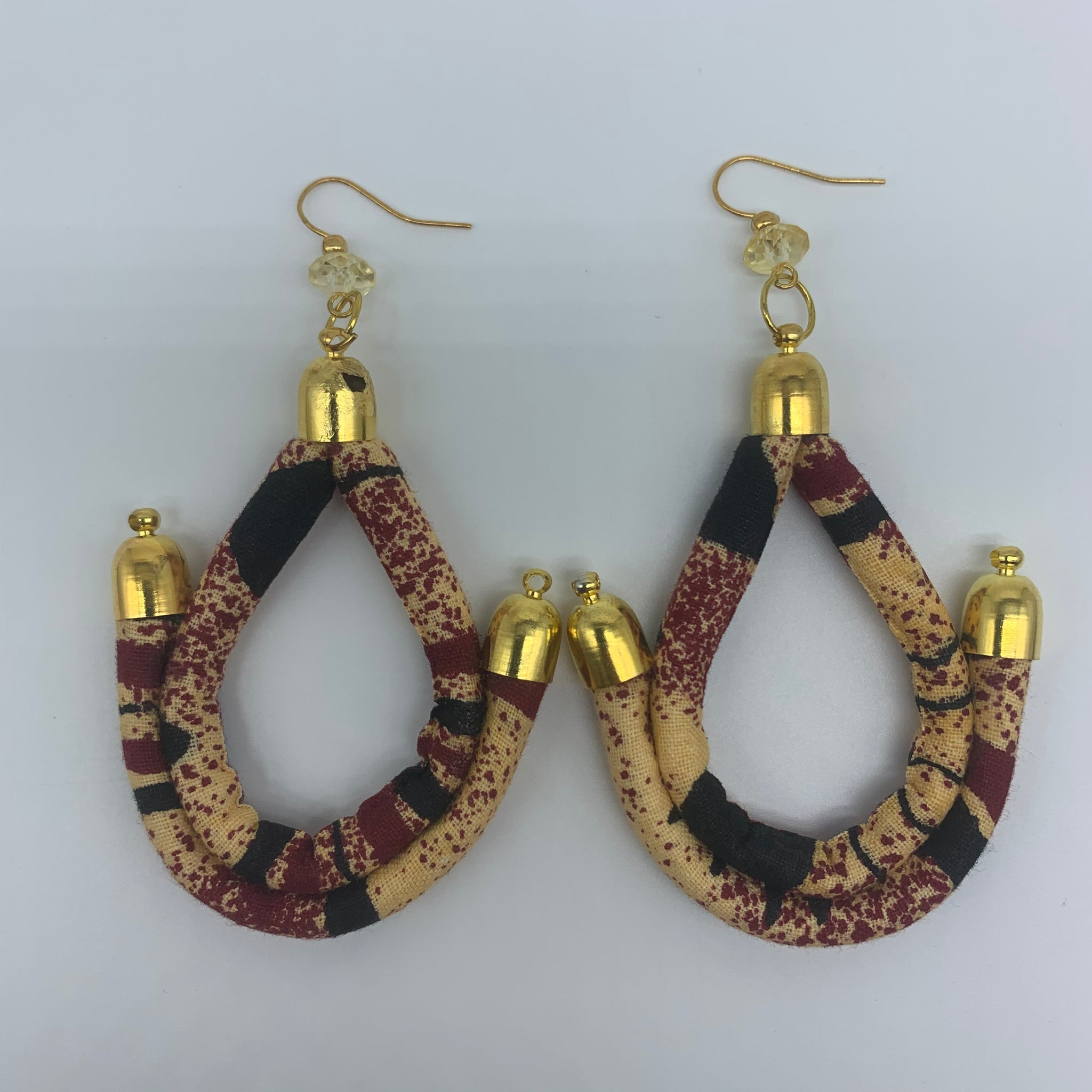 African Print Earrings-Anchor Beige Variation - Lillon Boutique