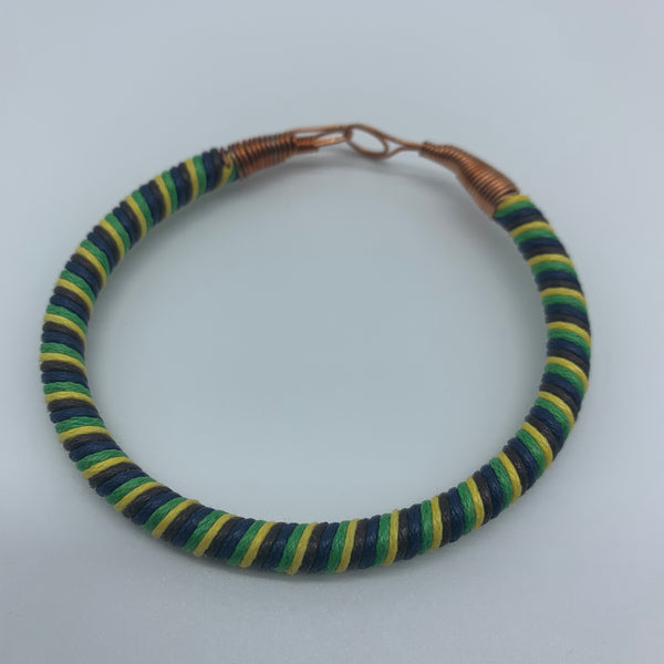 Thread W/Metal Wire Bracelet-Green Variation 2 - Lillon Boutique