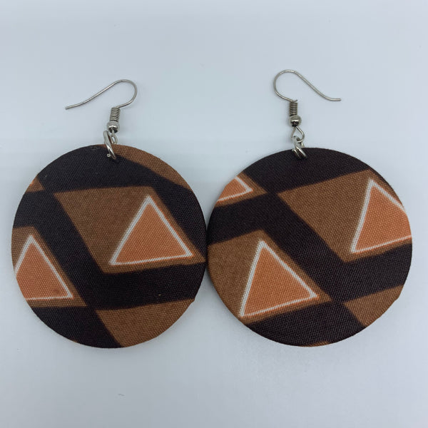 African Print Earrings-Round S Brown Variation 8 - Lillon Boutique